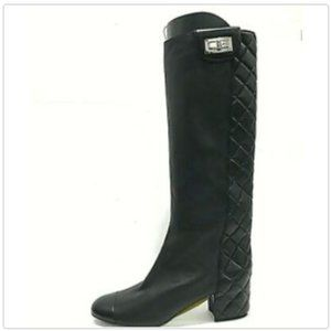 CHANEL Quilted Leather Mademoiselle Lock Tall Boot